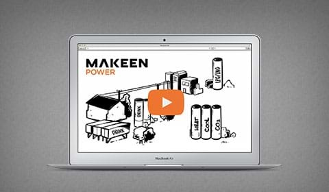 laptop with a thumbnail of MAKEEN Power video
